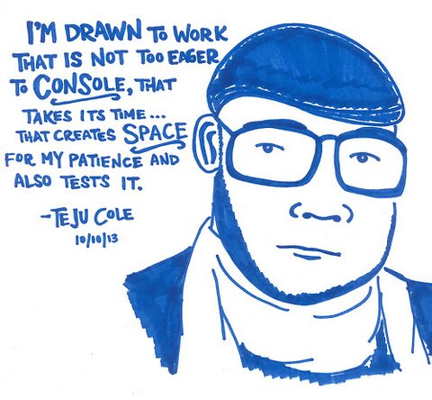 Drawing of Teju Cole by Kate Gavino for LastNightsReading.tumblr.com