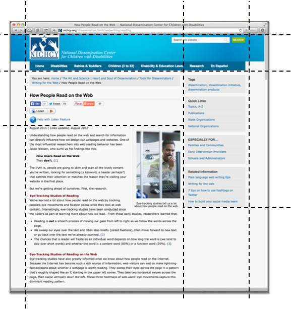 Left-centric columnar layout of a typical web page.