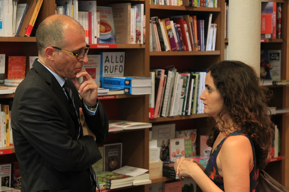 Leonardo Tonus in conversation with Tatiana Salem Levy prior to the first event. Photo: Dan Gunn.