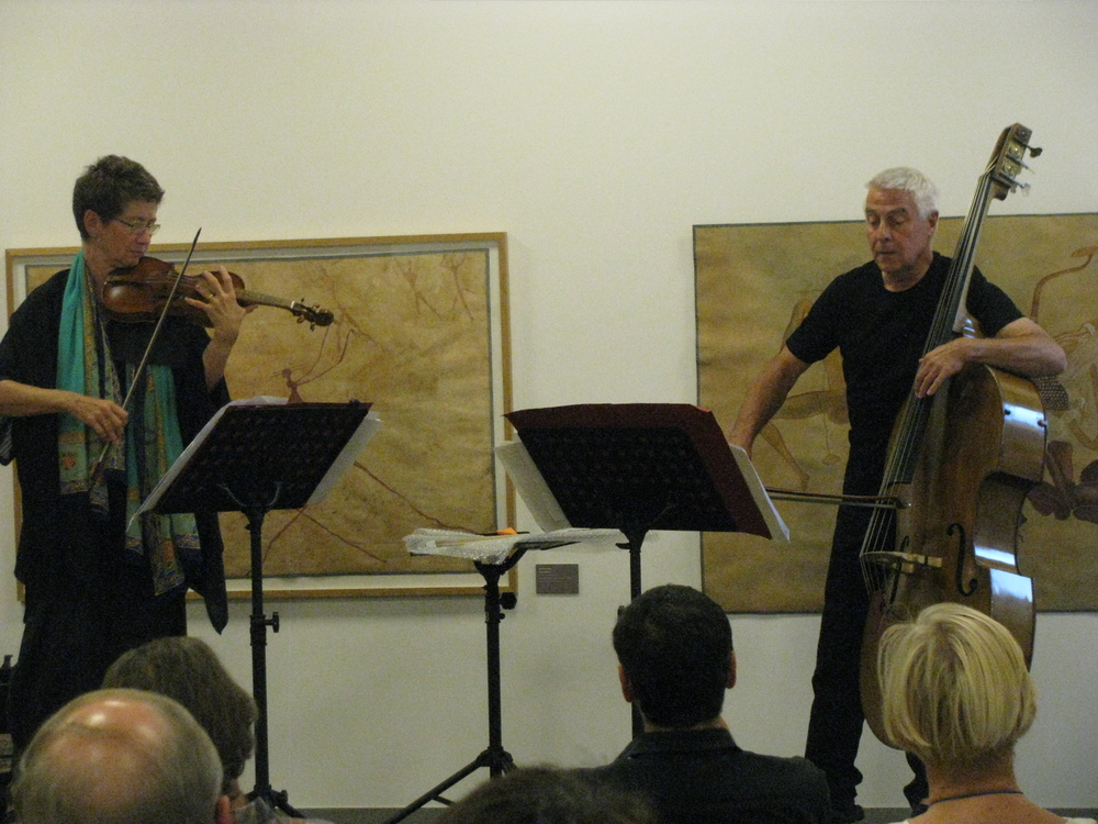 "Maya Homburger and Barry Guy performing Biber's Mystery Sonata No. 10 (""The Crucifixion"") at Goethe-Institut Paris."