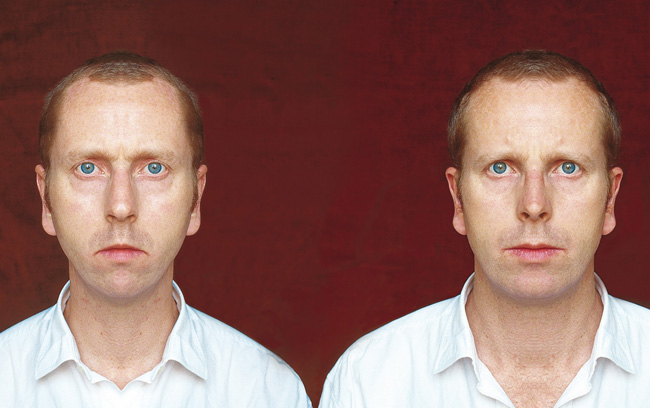 Édouard Levé, self-portrait created through mirror images of his asymmetrical face.