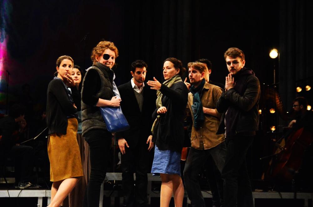 Left to right: Magali Paliès (mezzo-soprano), Raquel Camarinha (soprano), Pauline Squelbut (scenographer and stage manager), Clément Mao-Takacs (conductor), Karen Vourc'h (solo soprano), Johan Viau (tenor), Florent Baffi (bass-baritone), and Aleksi Barrière (stage director). © Festival de Saint-Denis 2014