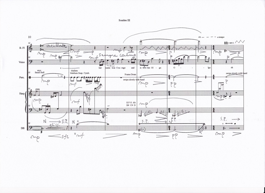 Excerpt from the manuscript of Sombre. Courtesy Kaija Saariaho.