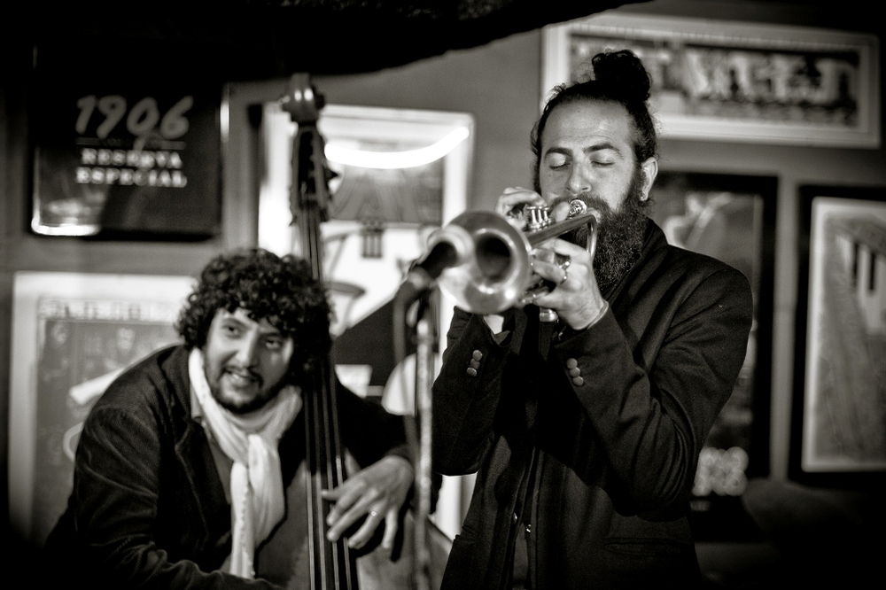 Omer Avital (left, on double bass) and Avishai Cohen. Courtesy Nelson Corsino.