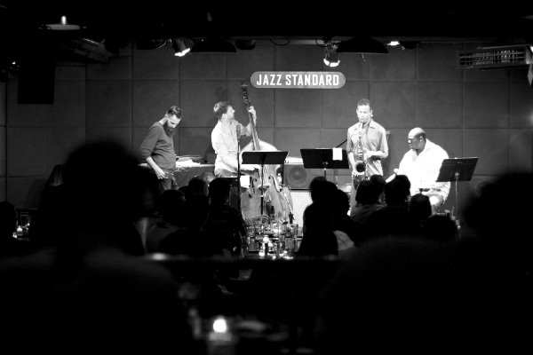 The Mark Turner Quartet. Left to right: Avishai Cohen, Joe Martin, Mark Turner, Johnathan Blake. Courtesy Jesse Ruddock.