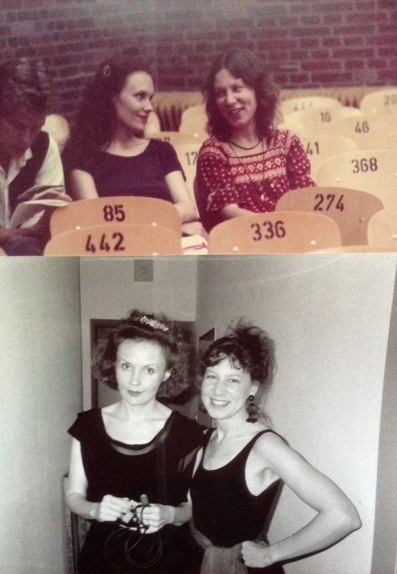 Kaija Saariaho and Camilla Hoitenga at Darmstadt in 1982 (with Magnus Lindberg to Saariaho's right) and in 1992 after the premiere of Noa Noa. Copyright Manfred Melzer.
