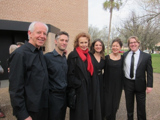 The performers of  Sombre . Left to right: Paul Ellison (string bass), Matthew Strauss (percussion), Kaija Saariaho (composer), Camilla Hoitenga (flute), Bridget Kibbey (harp), and Daniel Belcher (baritone). Courtesy Camilla Hoitenga.