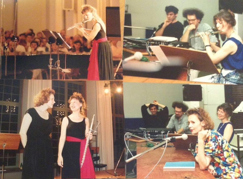 Camilla Hoitenga, Kaija Saariaho, and Jean-Baptiste Barrière, 1992. (Xavier Chabot to Barrière's right.) All images courtesy Camilla Hoitenga.