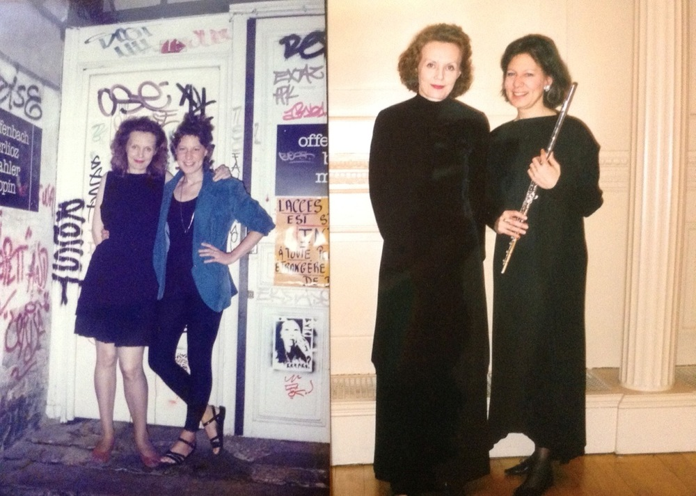 Kaija Saariaho and Camilla Hoitenga at a dance school in the Marais, Paris, early '90s, and at Carnegie Hall, 2003. Courtesy Camilla Hoitenga.
