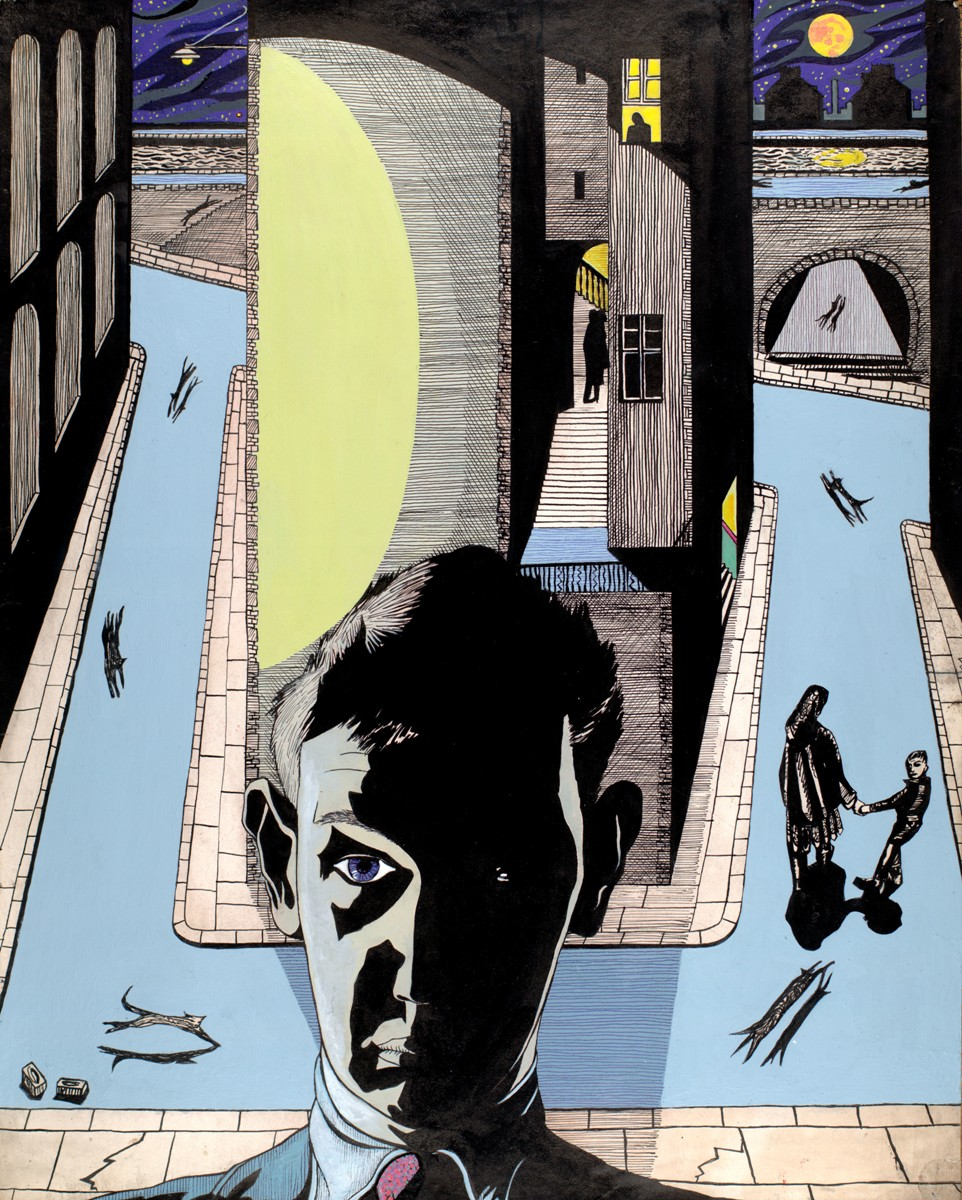 Normal   0           false   false   false     EN-US   X-NONE   X-NONE                                        MicrosoftInternetExplorer4                                            Alasdair Gray:  Night Street Self-Portrait   ( 1953) framed ink drawing with color added in 2006, 75 x 63.5 cm Courtesy Sorcha Dallas Gray