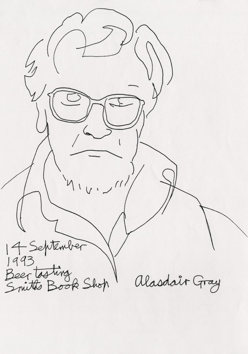 Normal   0           false   false   false     EN-US   X-NONE   X-NONE                                        MicrosoftInternetExplorer4                                            Alasdair Gray:  Beer Tasting Smiths Bookshop: Self-Portrait  (1993) copy of pen on paper, 30 x 21 cm Courtesy Sorcha Dallas Gray