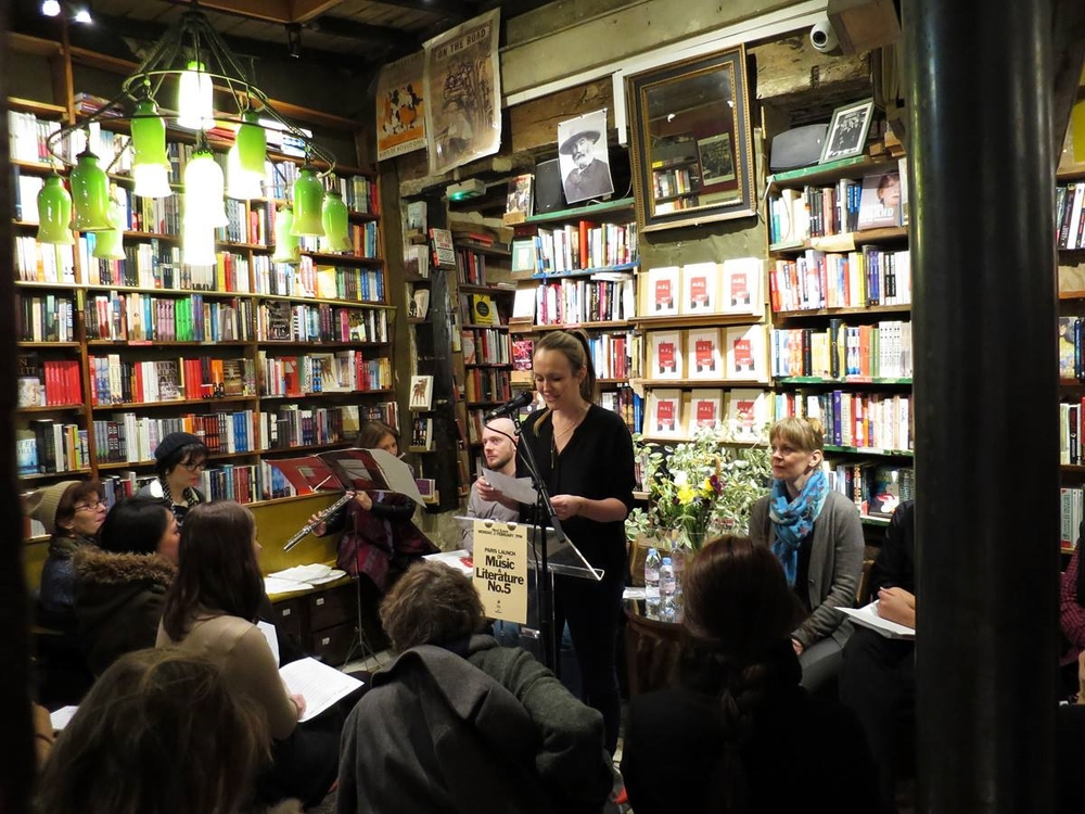 Laura Keeling welcomes the capacity crowd to Shakespeare & Co. for the Paris launch of  Music & Literature  no. 5.