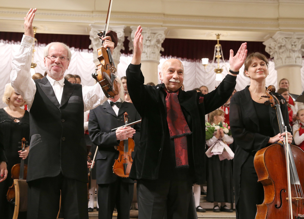 "Gidon Kremer, Giya Kancheli, and Giedre Dirvanauskaite after the Ukrainian premiere of Kancheli's  Angels of Sorrow,  part of Kremer's ""Dedication to the Ukrainian People"" project performed at the Philharmonic Hall in Kiev on November 17, 2014. Photo: Mykola Tymchenko."