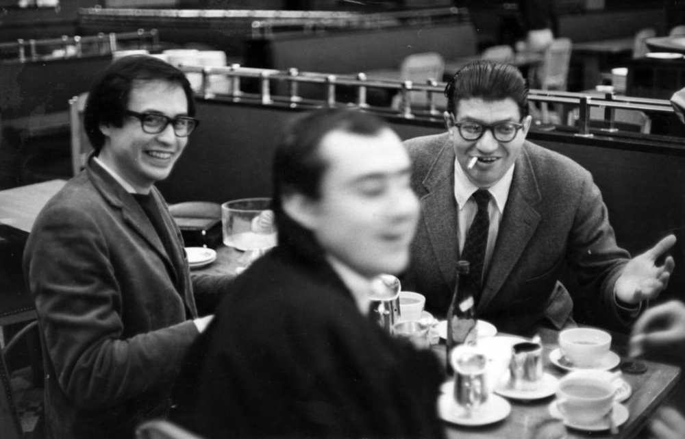 Feldman  with  Serge Tcherepnin  &  Gérard Masson  in Paris, 1965 (credit: Earle Brown Foundation)