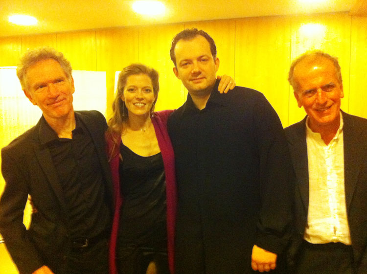 Barbara Hannigan with the creative team of Let Me Tell You: (l.-r.) composer Hans Abrahamsen, conductor Andris Nelsons, & author Paul Griffiths