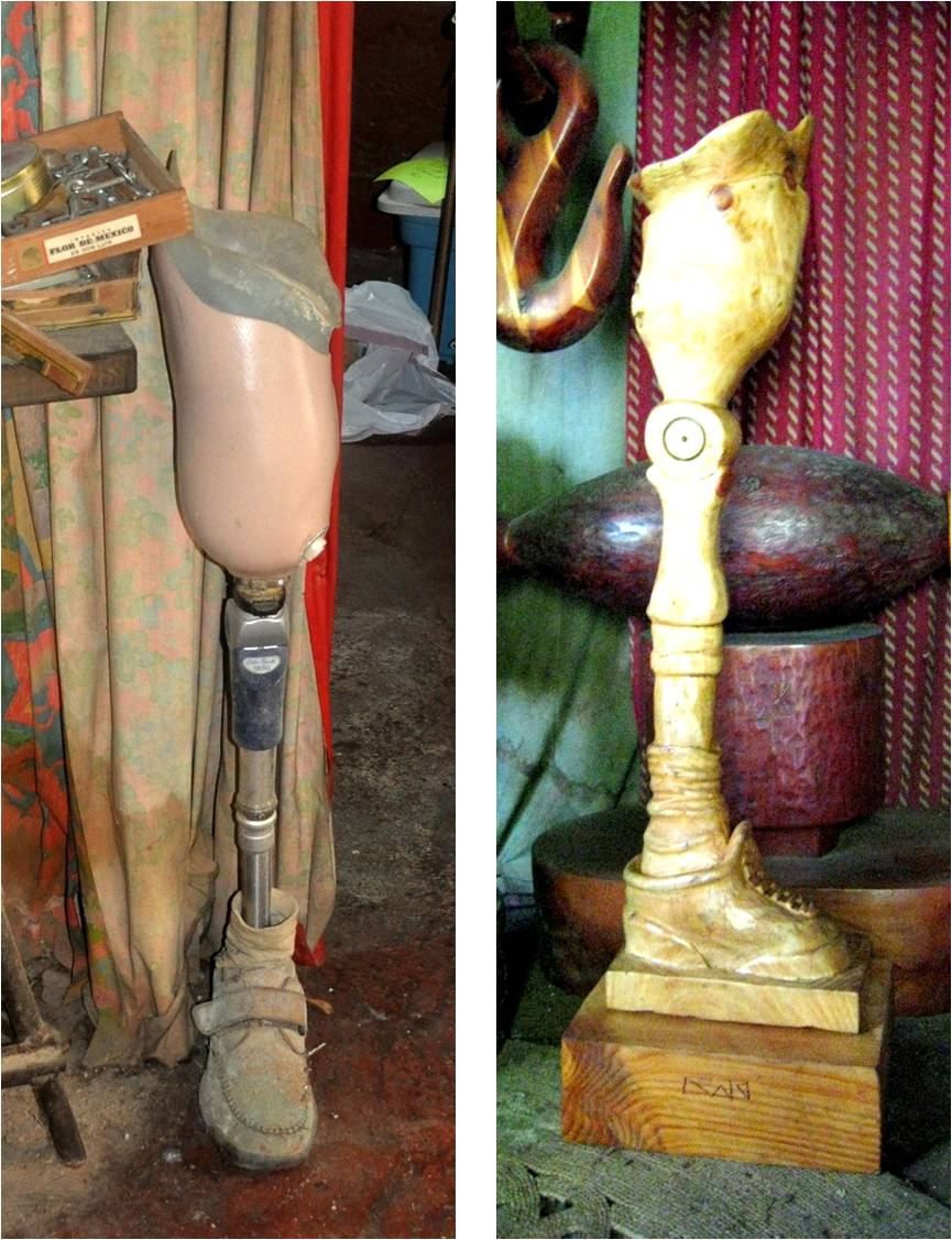 Kent's prosthesis, and Kent's final sculpture, of his own prosthesis.