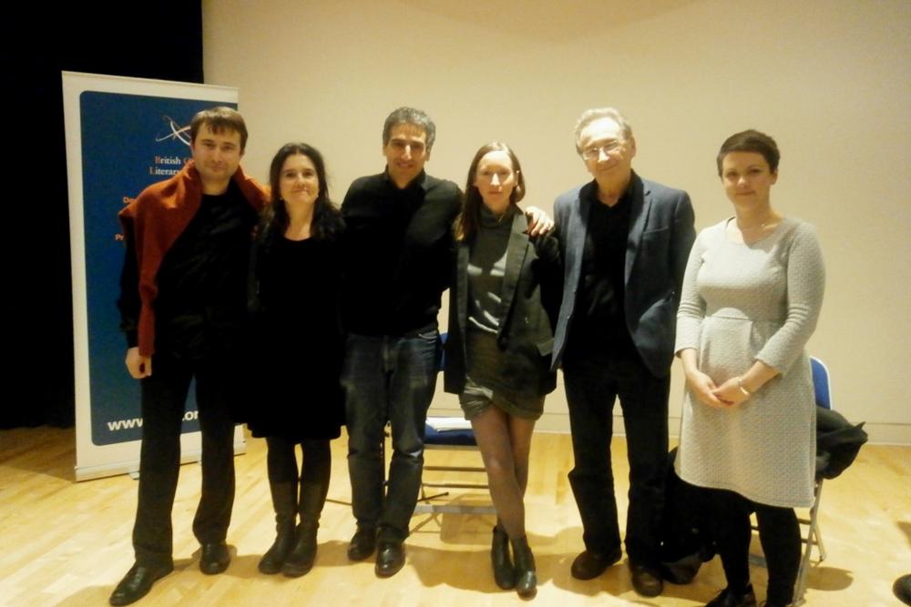 L to R: Roman Yusipey, Cecilia Rossi, Daniel Medin, Joanna Walsh, George Szirtes, & Megan Bradbury