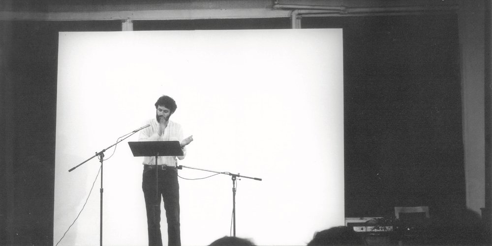 "Charles Amirkhanian performing ""Dutiful Ducks"" at The Kitchen, New York, during the inaugural ""New Music America"" Festival, June 10, 1979 Image credit: Shigeo Anzai"