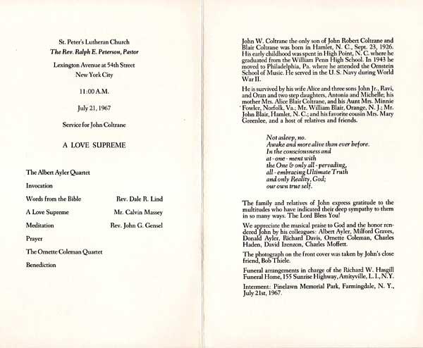 Program from the funeral of John Coltrane