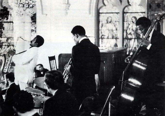 Albert Ayler, Don Ayler, & Richard Davis at the funeral of John Coltrane