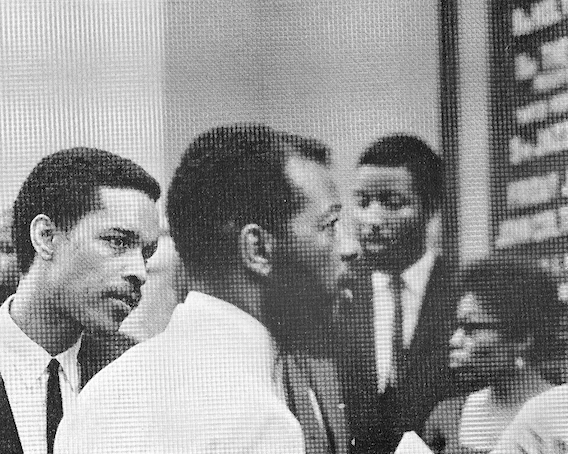 Billy Higgins & Ornette Coleman at the funeral of John Coltrane