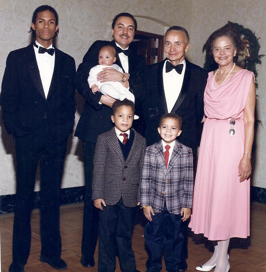 Mark Turner with family, 1988. Lewis and Violet Jackson are pictured right. The family is gathered in San Francisco for Lewis and Violet's fiftieth wedding anniversary. Courtesy of Mark Turner.