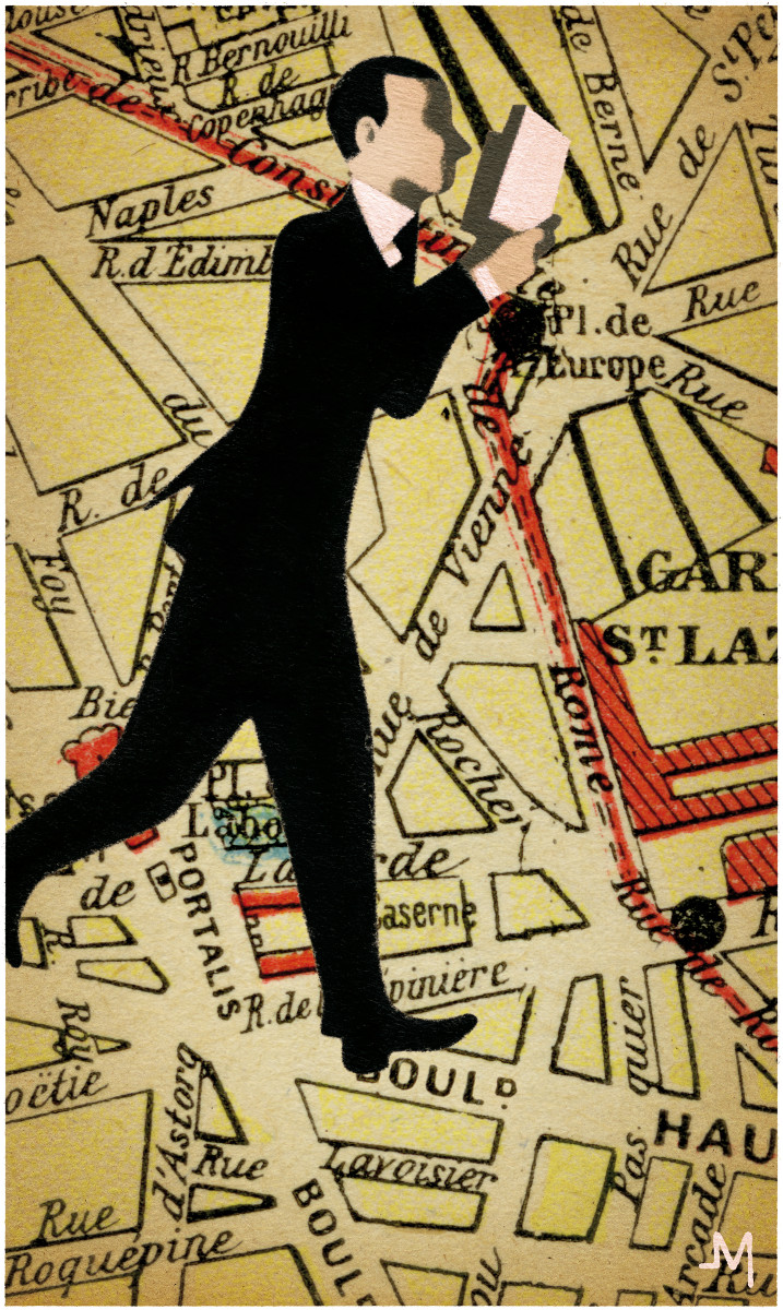 The illustration by Jean-François Martin that originally appeared alongside Chevillard's piece on Patrick Modiano for  Le Monde des livres . Courtesy of Jean-François Martin.