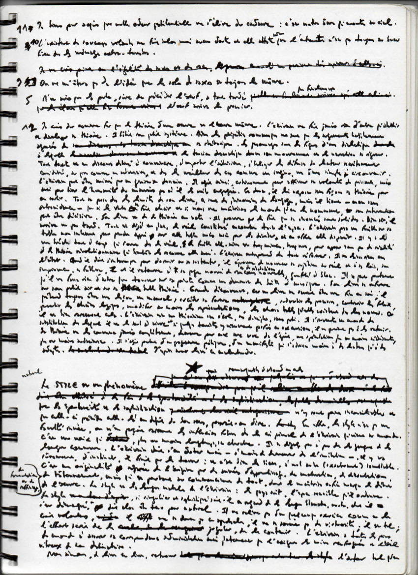 A handwritten page from a working manuscript of  Disorder According to QWERTY.  Courtesy of Éric Chevillard. (Click to enlarge.)