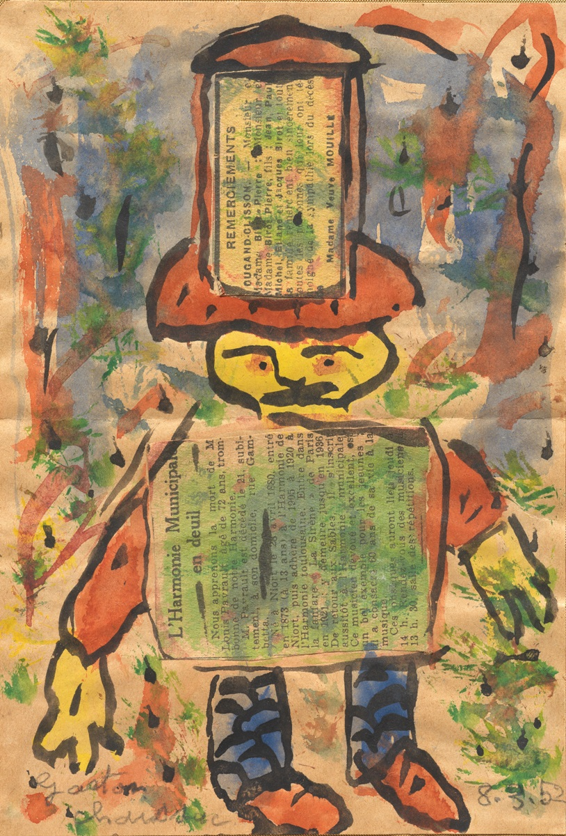 Sans titre , by Gaston Chaissac. March 8, 1952. 18cm x 13cm. Watercolor and collage on paper. The piece appeared in Chevillard's  Full Force.  Courtesy of the Collection Musée de l'Abbaye Sainte-Croix, Les Sables d'Olonne, and photographer Hugo Maertens.