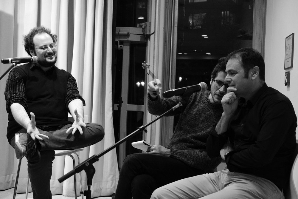 Jeremy M. Davies (left) in conversation with Éric Chevillard (right), Nicholas Elliott interpreting