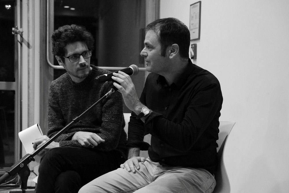Éric Chevillard (right) and his interpreter for the evening, Nicholas Elliott