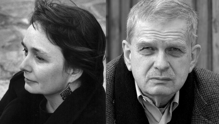Ellen Hinsey, left, and Tomas Venclova. Photo of Ellen Hinsey ©Adine Sagalyn, photo of Tomas Venclova ©Ivan Milovidov. Both photos courtesy of Ellen Hinsey.