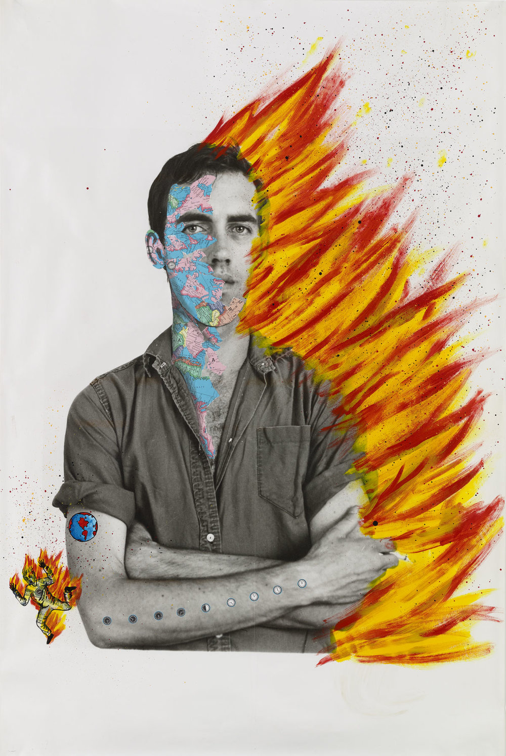 David Wojnarowicz (1954–1992) with Tom Warren,  Self-Portrait of David Wojnarowicz , 1983–84. Acrylic and collaged paper on gelatin silver print, 60 × 40 in. (152.4 × 101.6 cm). Collection of Brooke Garber Neidich and Daniel Neidich, Photograph by Ron Amstutz