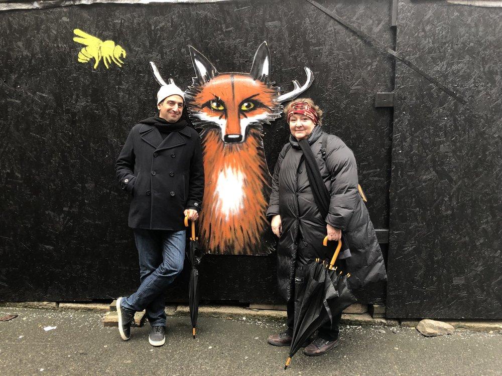 Ugrešić with Daniel Medin and a be-antlered fox in Bergen. Photo: Alisa Ganieva.