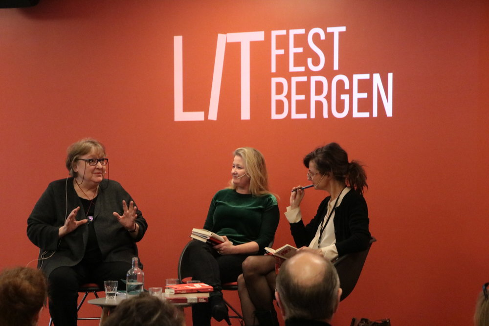 Left to right: Ugrešić with Ane Farsethås and Kari Jegerstedt at LitFest Bergen 2019. Photo: LitFestBergen