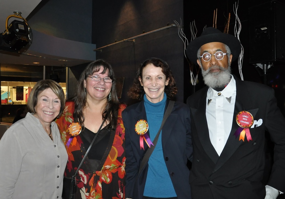 From left to right: Nancy Frank, Board Member, MSoP, organizer of the event and leading the campaign to  Save the Mosaic!;  Carol Shelkin, President of the Board, MSoP; Jane Golden, Executive Director, Philadelphia Mural Arts Program; Richard J. Watson, Curator of Exhibitions at the African American Museum and designer of the mosaic at the Loews Hotel Soul Food Restaurant.