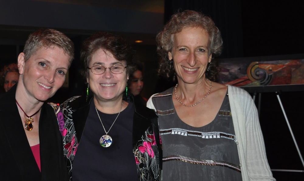 From left: Sharon Ritz, April Press, and Claire Brill, with the original drawing for the mosaic in the background.
