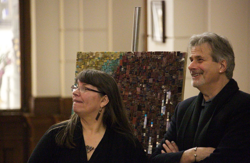 Admiring the mosaic! (Carol Shelkin, President, MSoP; Stephen Miotto, fabricator)