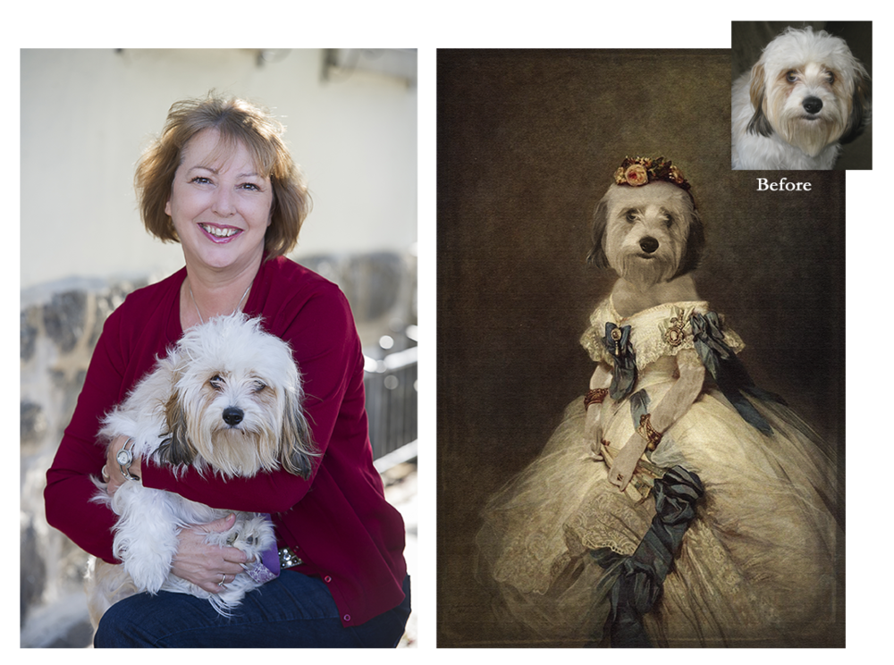 """""""Once I heard about this concept, I couldn't wait to have one made of my Belle. She is my little princess and needed to be in a big beautiful dress. They found the perfect painting to turn my Belle into the 'belle of the ball'!"""" - Karen"""