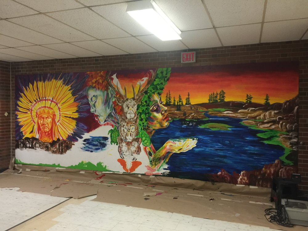 Jasmine Wemigwans, Special Series Visual & Media Arts 2017 graduate, created a large mural for Wexford CSA which celebrates First Nations peoples and culture.