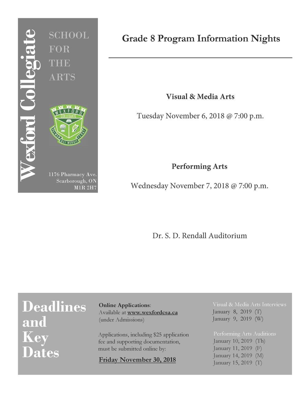 Grade 8 Program Info Night 2018 Flyer VMA and PA Final.jpg