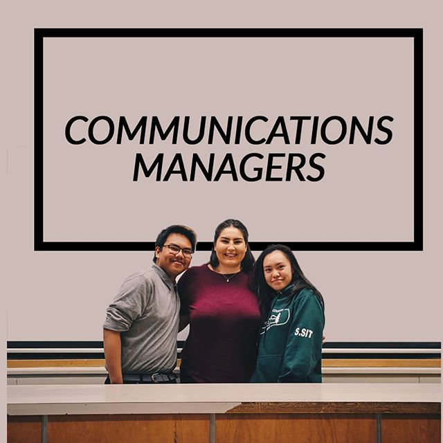 Introducing our communications managers! Right to left: Sandra Sit Brianna Tedesco Gilbert Parreno Missing: Manjula Bhandari These members are the ones communicating with teachers and coaches so that our photographers know when and where to go for games, shows, etc.