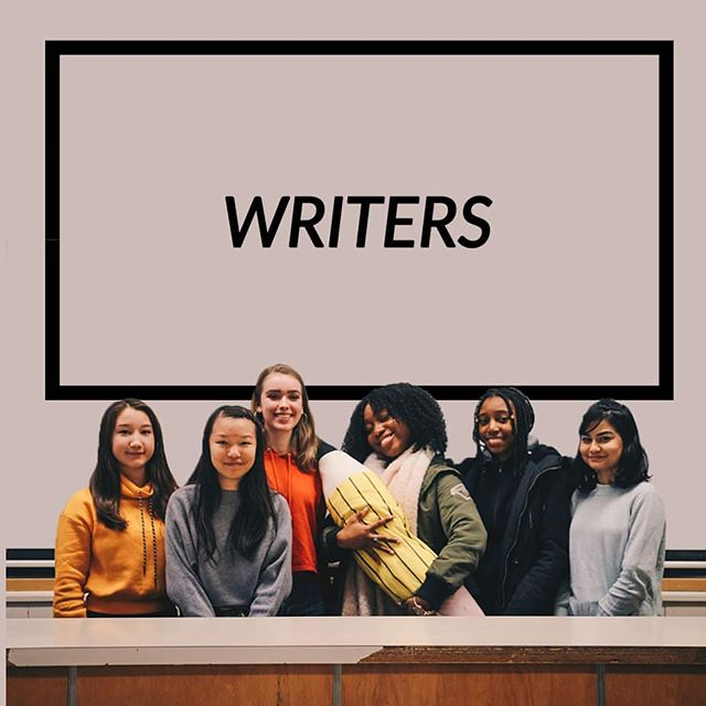 Introducing our writers! Right to left: Maheera Choudhury Tanieka Daley Almas Obinna (feat. Pencil Baby) Bridget Wadden Janet Tsim Hana Terada I'm sure everyone knows what our writers do...! 😂✏