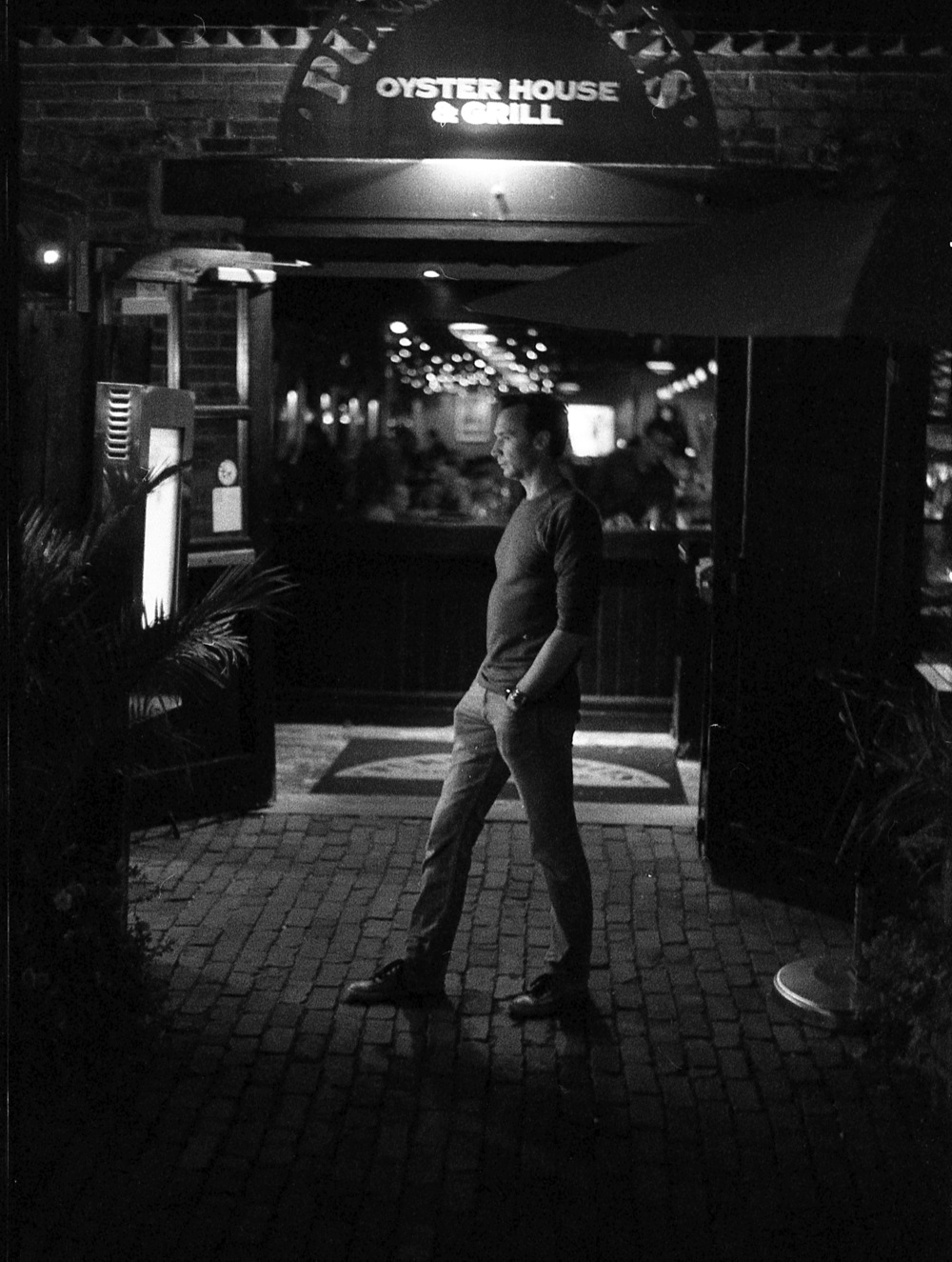 Toronto Distillery District at night; Pentax Spotmatic F, Super Takumar 50 f/1.4, Ilford Delta 3200 @ ISO 3200