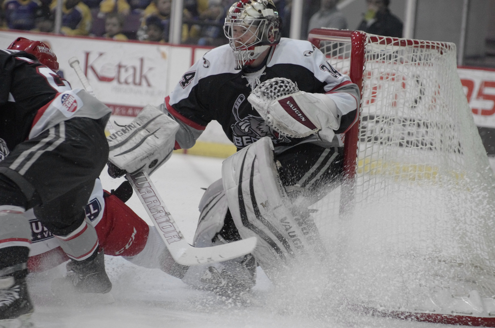 The Brampton Beast's goalie, Trevor Cann, guards the net in a game against the Elimra Jackals at the Powerade Centre in Brampton, Ontario, on January 25, 2015.  As published in Snapd Brampton, March 2015.