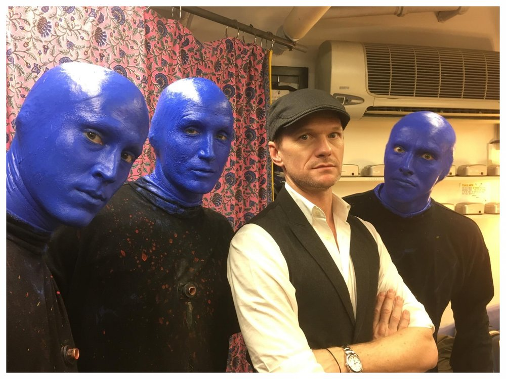 Blue Man (left)