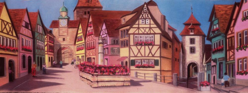 """Rothenburg"" pastel, 60x24"""