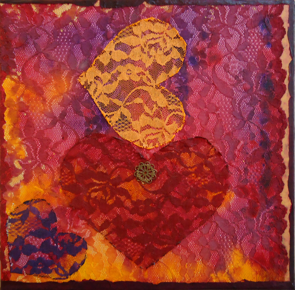 """""""Hearts, Every Which Way""""mixed media, 12 """"x12""""   AVAILABLE / $85"""