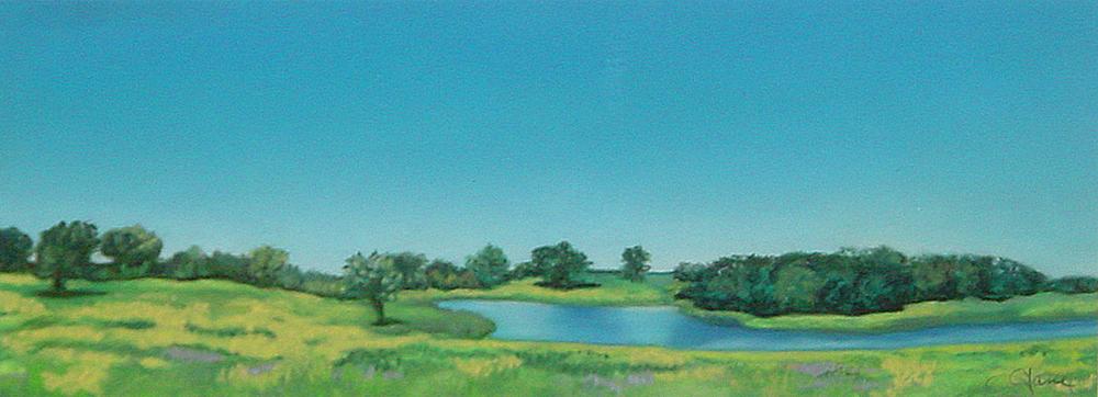 """Blue Sky""pastel, 12x5"""
