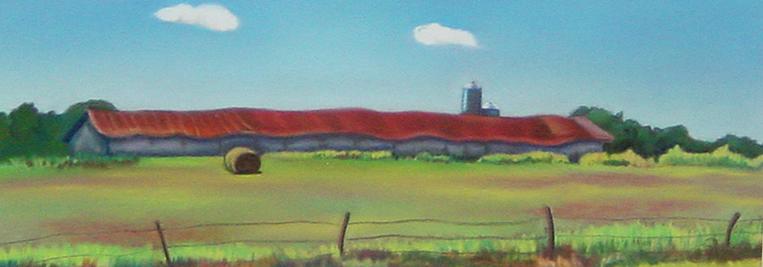 """Abandoned Chicken Coop""pastel, 12x5"""